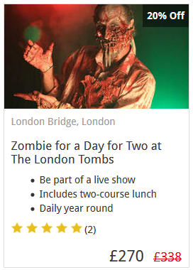 Zombie For A Day For Two Experience
