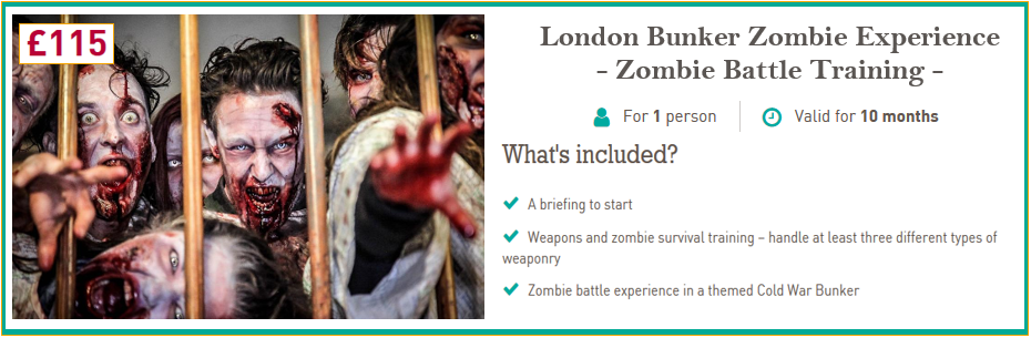 London Bunker Zombie Experience Modal